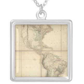 Map of America by A Arrowsmith Square Pendant Necklace