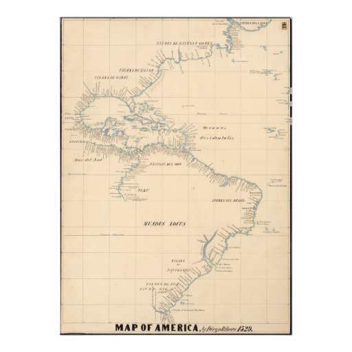 Map of America by Diego Ribero 1529 Photo Print