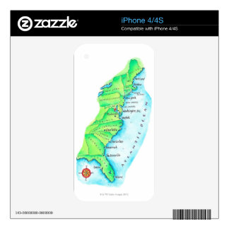 Map of American East Coast Decals For The iPhone 4S