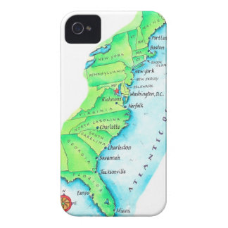 Map of American East Coast iPhone 4 Case