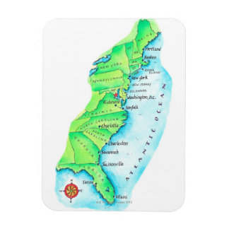 Map of American East Coast Magnet