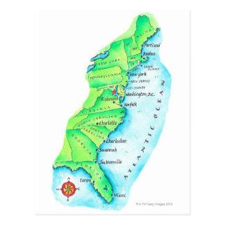 Map of American East Coast Postcard