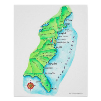 Map of American East Coast Posters
