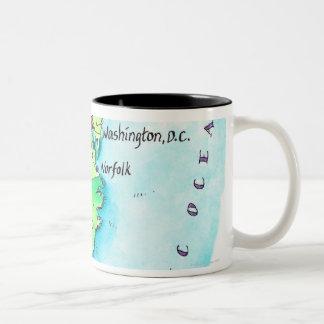 Map of American East Coast Two-Tone Coffee Mug