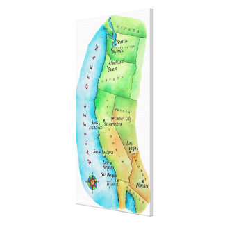 Map of American West Coast 2 Canvas Print