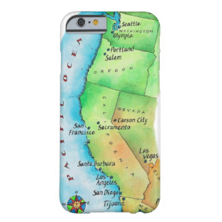 Map of American West Coast Barely There iPhone 6 Case