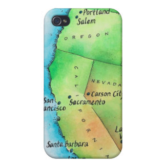 Map of American West Coast iPhone 4 Case