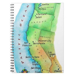 Map of American West Coast Notebooks