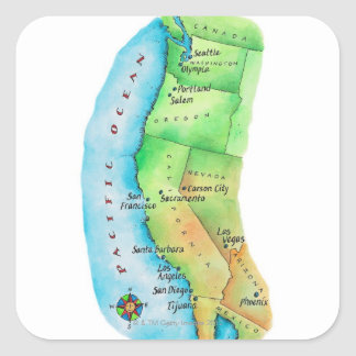 Map of American West Coast Square Sticker