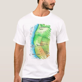 Map of American West Coast T-Shirt