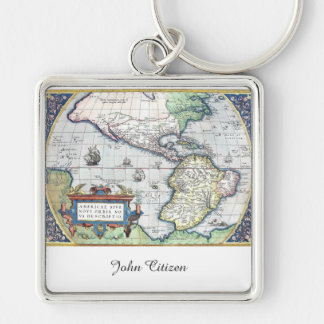 Map of Americas New World 1570 Key Chain