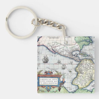 Map of Americas New World 1570 Square Acrylic Keychains