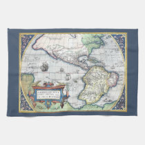 Map of Americas New World 1570 Kitchen Towel at Zazzle