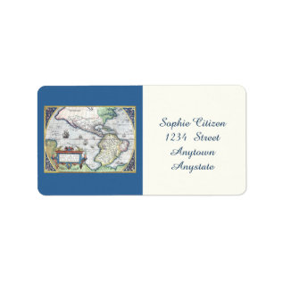 Map Of Americas New World 1570 Label at Zazzle