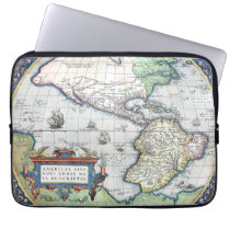 Map of Americas New World 1570 Laptop Sleeve at Zazzle