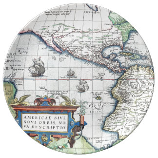 Map of Americas New World 1570 Porcelain Plate