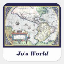Map of Americas New World 1570 Square Sticker at Zazzle