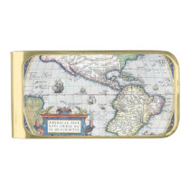Map of Americas New World 1570 Gold Finish Money Clip at Zazzle