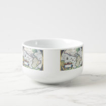 Map of Americas New World 1570 Soup Bowl With Handle at Zazzle