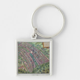 Map of Amsterdam, from 'Civitates Orbis Terrarum' Silver-Colored Square Keychain