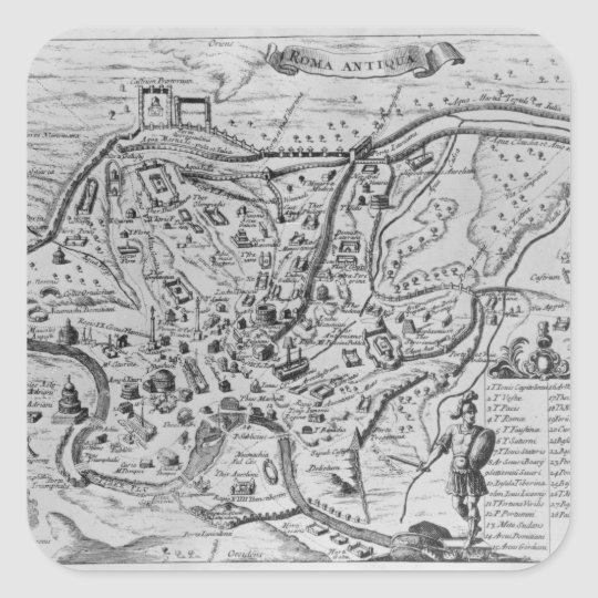 Map of Ancient Rome Square Sticker