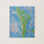 """Map of Anna Maria Island Jigsaw Puzzle<br><div class=""""desc"""">A small island on the west coast of Florida,  Anna Maria Island is a magical haven. Enjoy assembling this puzzle created from a lovingly hand painted watercolor map of Anna Maria Island.</div>"""