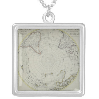 Map of Antarctica 2 Silver Plated Necklace