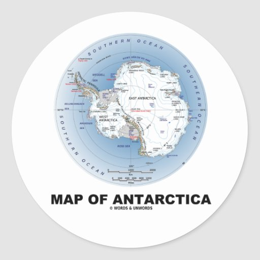 Map Of Antarctica (Geography) Classic Round Sticker
