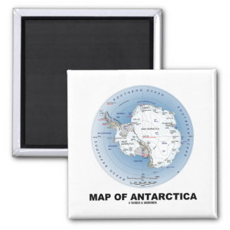 Map Of Antarctica (Geography) Fridge Magnets