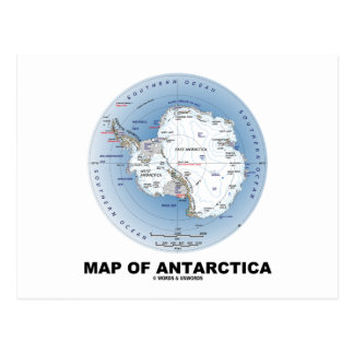 Map Of Antarctica (Geography) Post Card