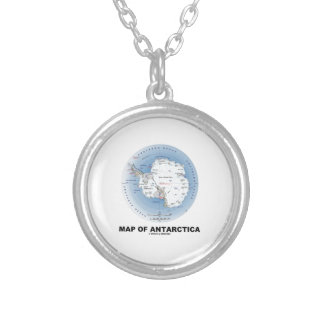 Map Of Antarctica (Geography) Round Pendant Necklace
