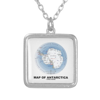 Map Of Antarctica (Geography) Square Pendant Necklace