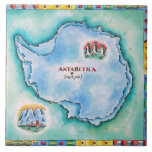Map of Antarctica Large Square Tile