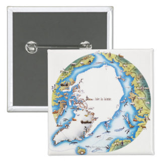 Map of Arctic 2 Inch Square Button
