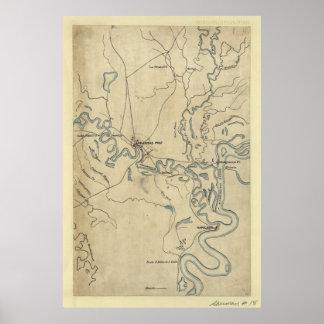 Map of Arkansas Post January 1863 Print