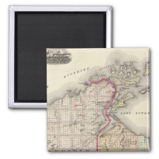 Map of Ashland and Bayfield counties 2 Inch Square Magnet