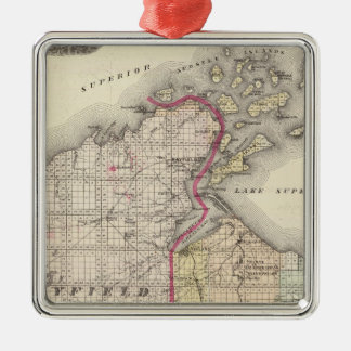 Map of Ashland and Bayfield counties Metal Ornament
