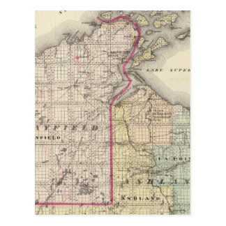 Map of Ashland and Bayfield counties Postcard