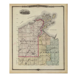 Map of Ashland and Bayfield counties Poster