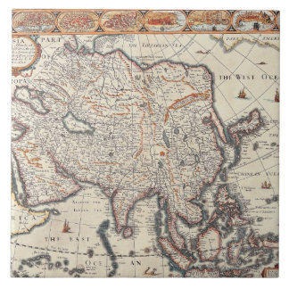 Map of Asia 3 Large Square Tile
