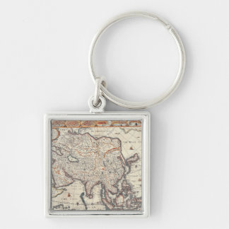 Map of Asia 3 Silver-Colored Square Keychain