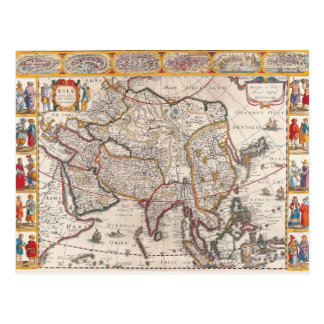 Map of Asia 4 Postcard
