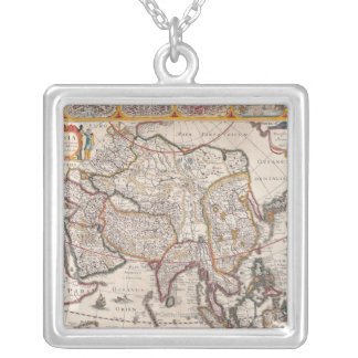 Map of Asia 4 Silver Plated Necklace