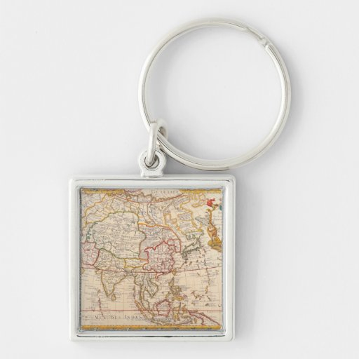 Map of Asia 5 Silver-Colored Square Keychain