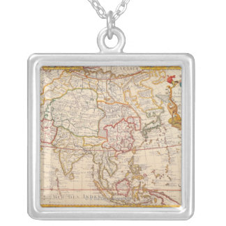 Map of Asia 5 Silver Plated Necklace