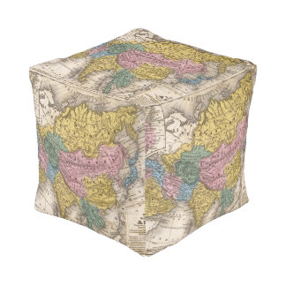 Map of Asia Cube Pouf