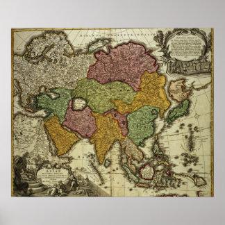 Map of Asia, Nuremberg, c.1730 Poster