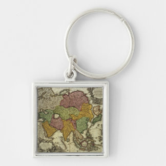 Map of Asia, Nuremberg, c.1730 Silver-Colored Square Keychain