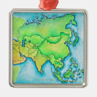 Map of Asia Square Metal Christmas Ornament