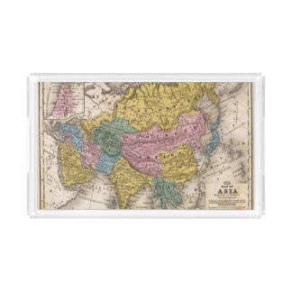 Map of Asia Rectangle Serving Trays